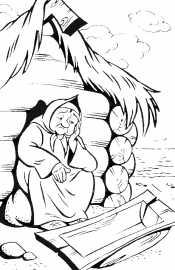 Старуха у землянки
