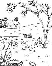 Весенний пейзаж. Животные