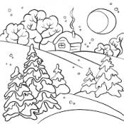 Зимний пейзаж при луне
