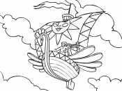Летучий корабль в небе