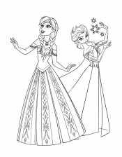 Раскраска Эльза и Анна