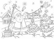 Дед Мороз и гирлянда