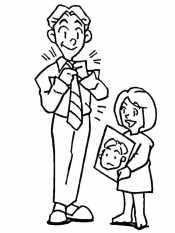 Дочь дарит папе портрет