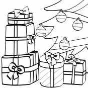 Новогодние подарки у елки