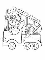 Пожарная машина и мышонок