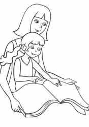 Мама и дочка за чтением