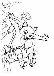 Кот в сапогах картинки раскраски
