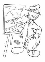 Утка пишет картину