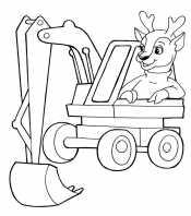 Экскаватор с водителем оленем