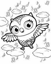 Раскраска сова и нотки