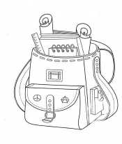 Раскраска Рюкзак с блокнотом