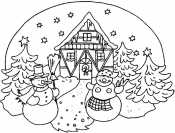 Зимний домик со снеговиками