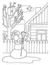 Раскраска для детей снеговик