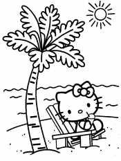 Китти на пляже