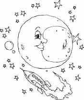 Луна и корабль