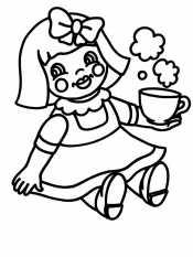 Кукла с чашкой