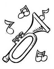 Раскраск ноты и труба