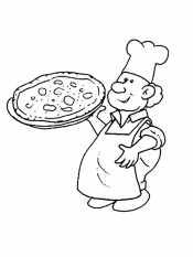 Повар с пиццей