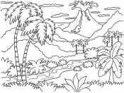 Пальмы и вулкан
