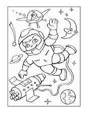 Космонавт и месяц
