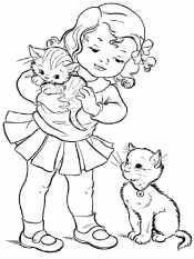 Девочка с котятами