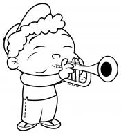 Раскраска Мальчик с трубой