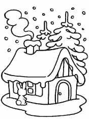 Рисунок Зимний домик