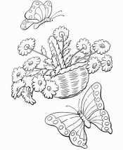 Бабочки на корзине с цветами