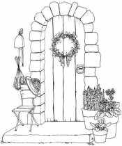 Дверь и цветы в горшках