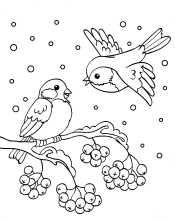 Снегирь летит к рябине