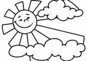Солнышко и тучки раскраски для детей