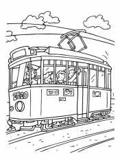 Трамвай с людьми
