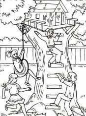 Дети в домике