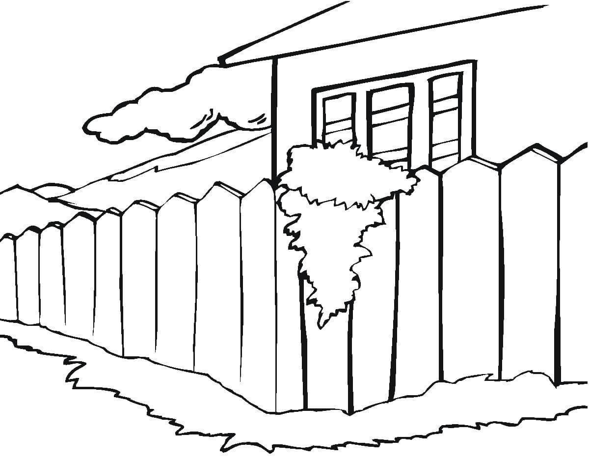 Раскраска забор для детей распечатать