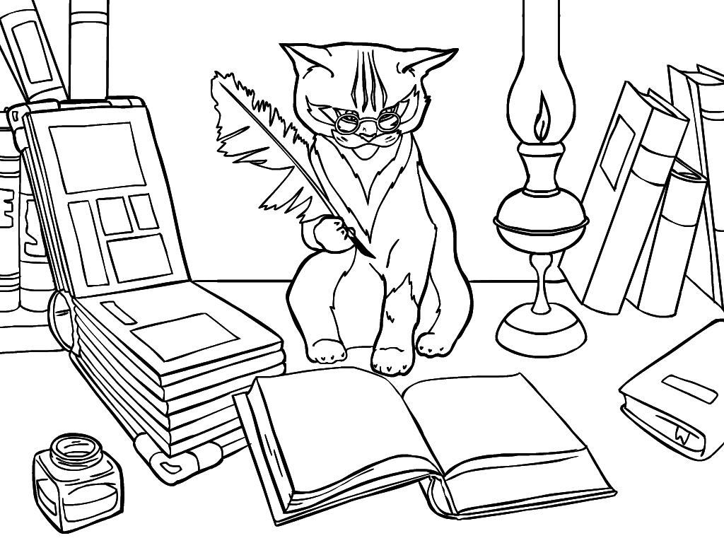 Раскраска учёного кота