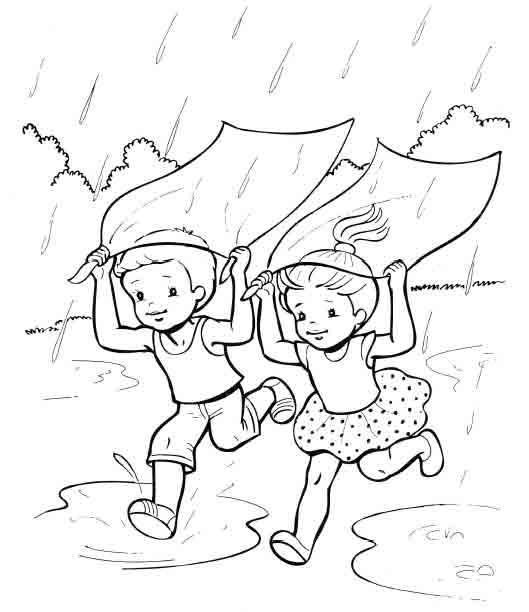 Весенние дожди раскраски