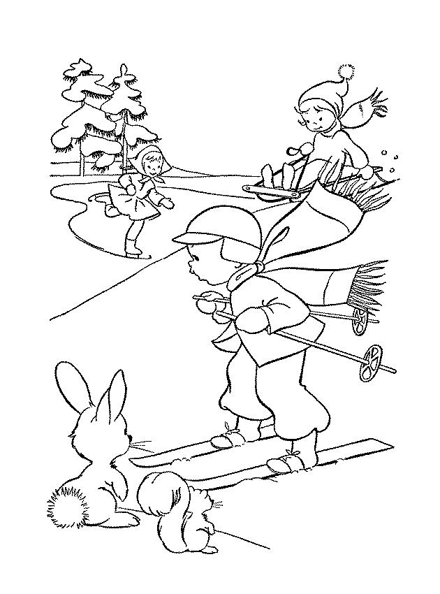 картинки раскраски на тему зимние забавы что